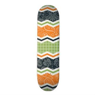 Green and Orange Country Chevron Stripes Skate Board