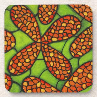 Green And Orange Flowers Coaster