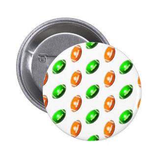 Green and Orange Football Pattern Pinback Buttons