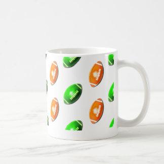 Green and Orange Football Pattern Basic White Mug