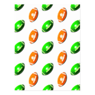 Green and Orange Football Pattern Postcard