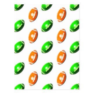 Green and Orange Football Pattern Postcard