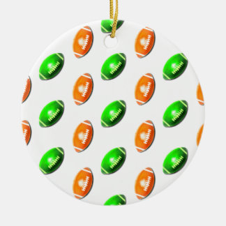 Green and Orange Football Pattern Round Ceramic Decoration