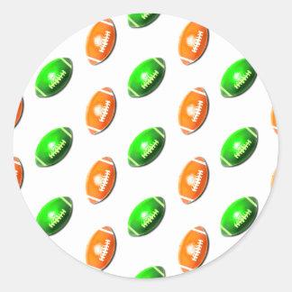 Green and Orange Football Pattern Round Sticker