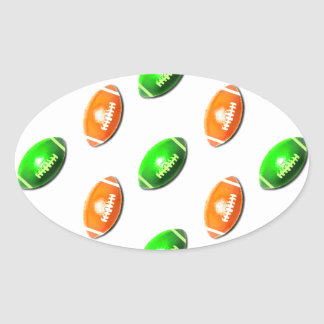 Green and Orange Football Pattern Oval Sticker