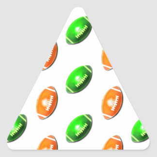 Green and Orange Football Pattern Triangle Sticker