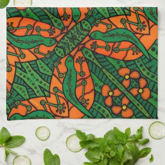 Green And Orange Gecko Lizard Pattern Tea Towel
