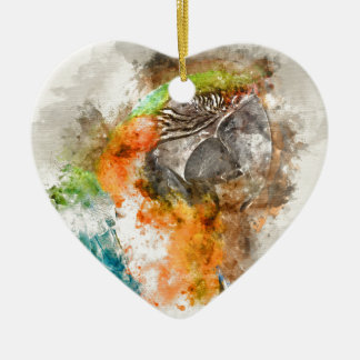 Green and Orange Macaw Bird Ceramic Heart Decoration