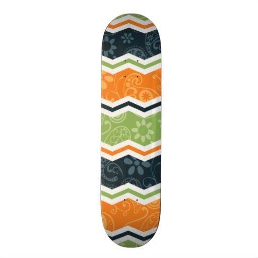 Green and Orange Paisley Chevron Stripes Skate Board Decks