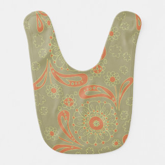 Green and Orange Paisley Mandala Floral Pattern Bib