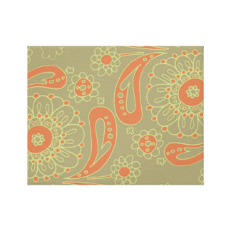 Green and Orange Paisley Mandala Floral Pattern Canvas Print