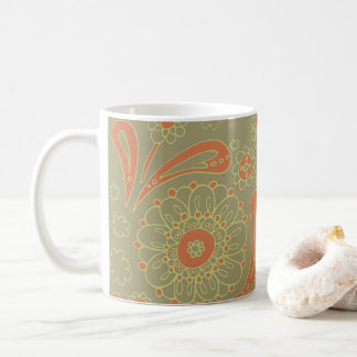 Green and Orange Paisley Mandala Floral Pattern Coffee Mug