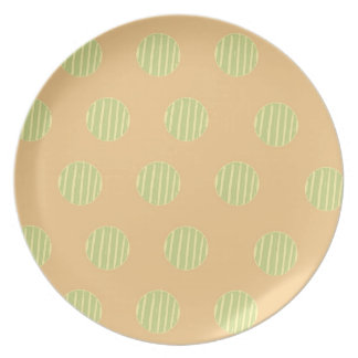Green and Orange Polka Dot Pattern Party Plate