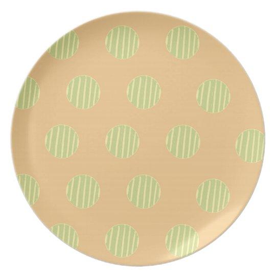 Green and Orange Polka Dot Pattern Plate