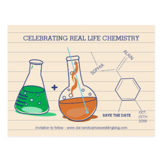 Green and Orange Save the Date Chemistry Postcards