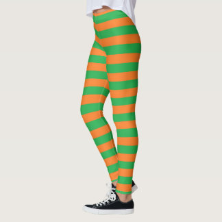 Green and Orange Stripes Leggings