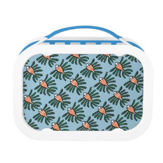 Green and Orange Twin Fin Fish Lunch Boxes