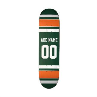 Green and Orange White Stripes Custom Name Number Skate Decks