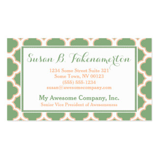 Green and Peach Quatrefoil Elegant Business Cards