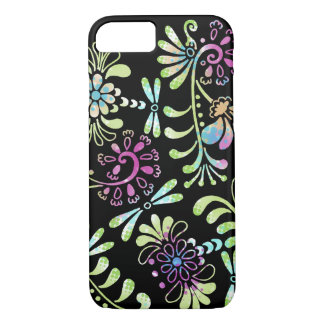 Green and pink abstract flowers iPhone 7 case
