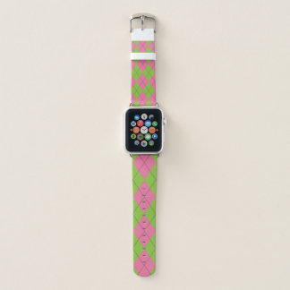 Green and Pink Argyle Apple Watch Band