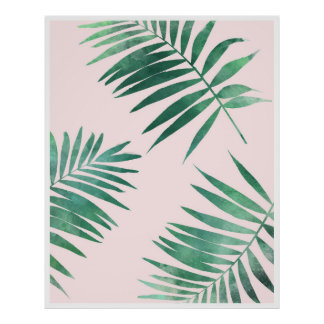 Green and pink botanical poster print