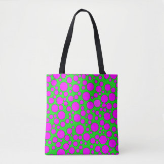 GREEN AND PINK BUBBLES TOTE BAG