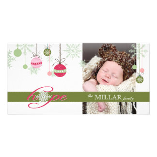 Green and Pink Christmas Photo Card