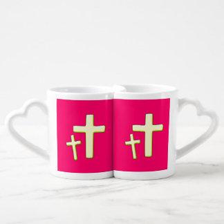 Green And Pink Cross Design Coffee Mug Set