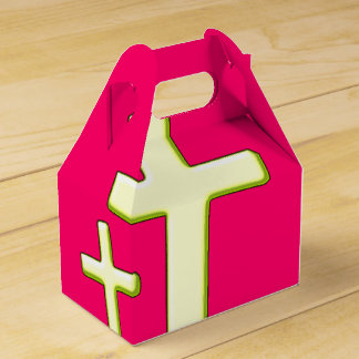 Green And Pink Cross Design Favour Box