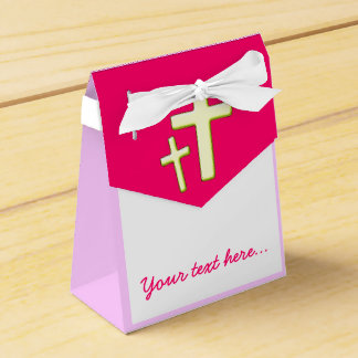 Green And Pink Cross Design Favour Boxes
