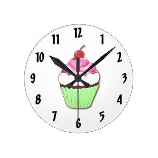 Green and Pink Cupcake Wall Clock