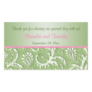 Green and Pink Damask Wedding Favor Tag Pack Of Standard Business Cards