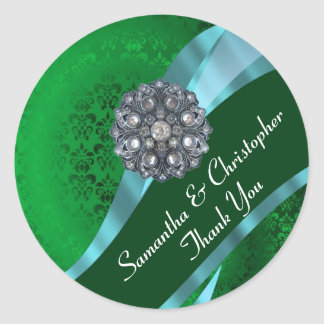 Green and pink damask wedding seal classic round sticker