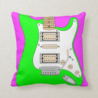 Green And Pink Electric Guitar Cushion