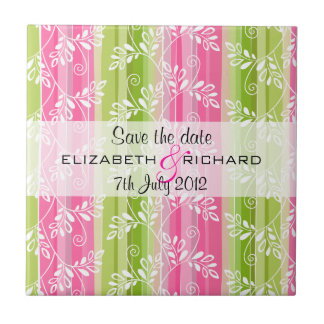 Green and pink flowers stripes Save the date Tile
