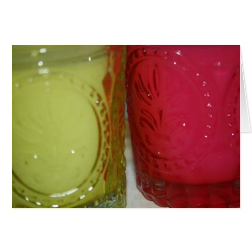 Green and Pink Glass Candle Jars Card