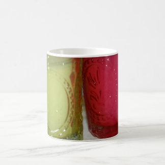 Green and Pink Glass Candle Jars Post Card Basic White Mug