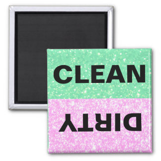 Green and Pink Glitter Clean-Dirty Magnet