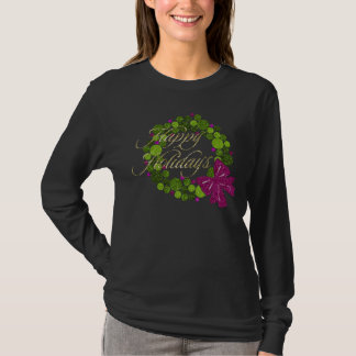 Green and Pink Glittery Wreath of Ornaments T-Shirt