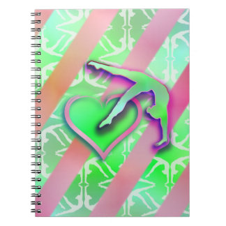 Green and Pink Gymnastics Heart Customizable Notebook