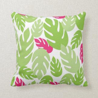 Green and Pink Hawaiian Tropical Fern Throw Pillow