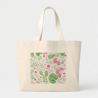 Green and pink leaves and flowers large tote bag