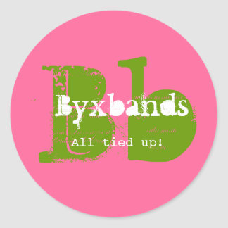 Green and Pink Monogram Business Logo Round Sticker