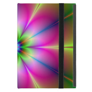 Green and Pink Neon Flower Cover For iPad Mini