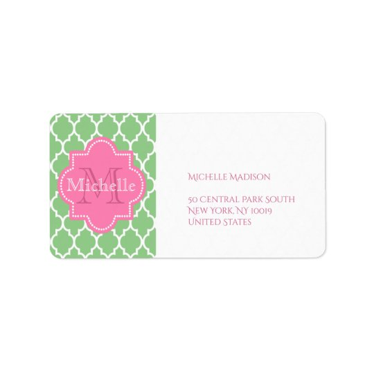 Green and pink personalised label