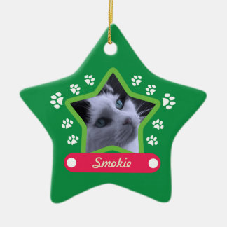 Green and Pink Pet Paws Christmas Photo Ornament