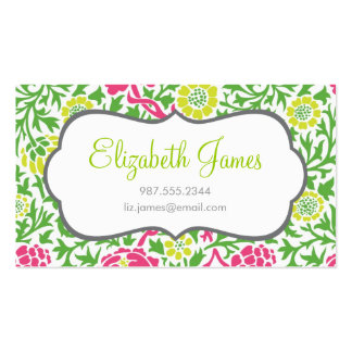 Green and Pink Retro Floral Damask Pack Of Standard Business Cards