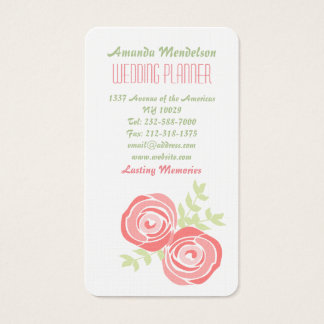 green and pink roses business card