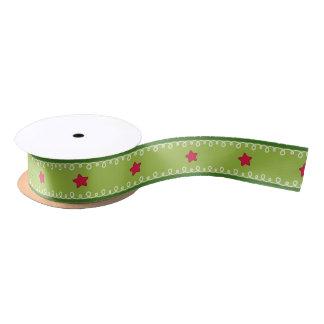 Green and Pink Stars Ribbon Spool Satin Ribbon